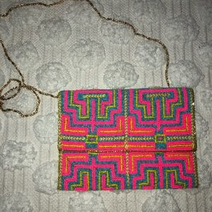 NWT! Anthropologie Beaded Handbag Gorgeous Neon